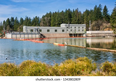 Hydroelectric station and lake of Clakamas county Oregon.