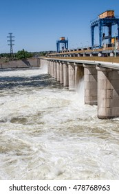 hydroelectric work on the Dnieper River. New Kakhovka, Ukraine.