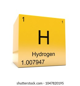 Hydrogen chemical element symbol from the periodic table displayed on glossy yellow cube 3D render