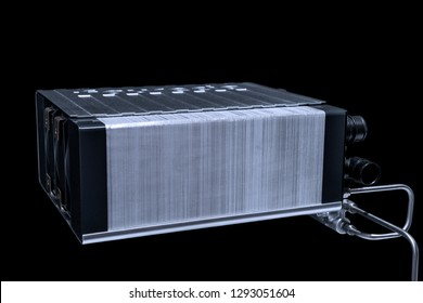 Hydrogen fuel cell isolated on black.