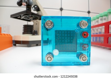 Hydrogen fuel cell in lab. Experimentation in the laboratory for hydrogen technology