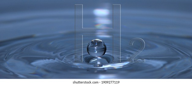 hydrogen h2 letters over a liquid with a droop panorama view