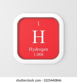 Hydrogen symbol on red rounded square icon 3D render