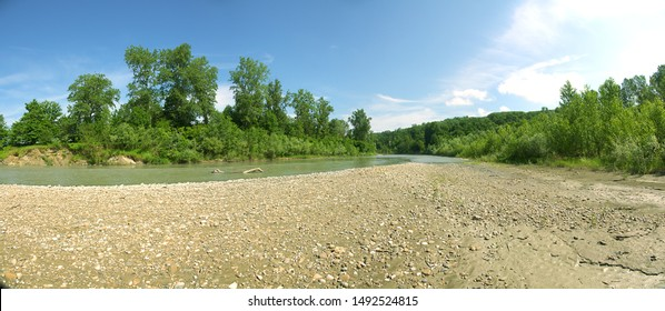 Hydrology, potamology. Silty water of mountain river when it enters plain (freshet before inundation). River after summer rains. Pebbly-clay shallows of river sediment, alluvial valley, silt soil