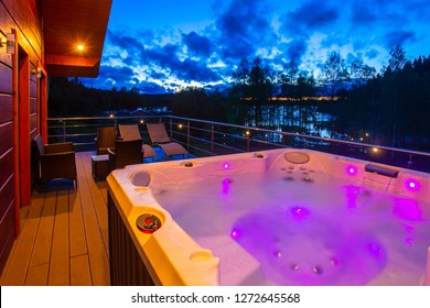 Hydromassage pool. Illuminated pool. Rest outside the city. Cottage with hydromassage pool.