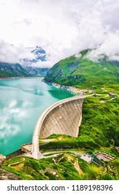Hydropower station at high mountains. Dam in Kaprun on Mooserboden reservoir
