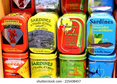 HYERES, FRANCE - JULY 7 : Colorful tins of sardines sold in the southern town of France, Hyeres as a main tourist take away present on July 7th, 2012.