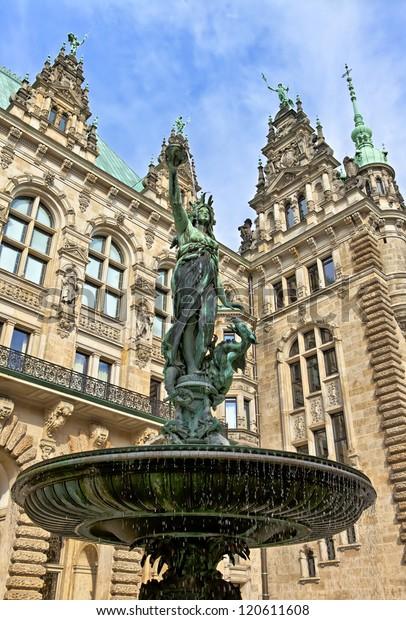 Brunnen Hamburg.Hygieia Brunnen Hamburg Statuefountain Front City Stock