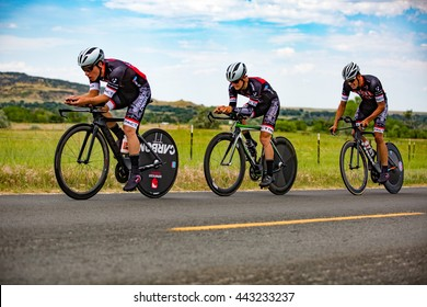 Hygiene, CO, USA - June 25, 2016: Cyclists ride along Hygiene Road while competing in the Hygiene Team Time Trial north of Boulder.