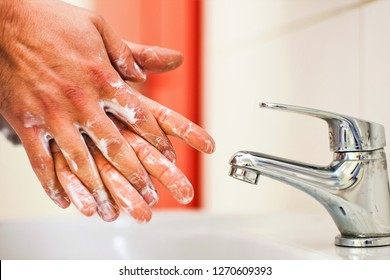 Hygiene concept. Washing hands with soap