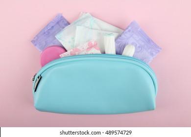 Hygiene feminine pads, tampon menstruation in the beautician