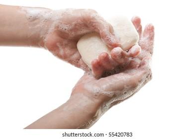 Hygiene soap bar washing or cleaning human hand
