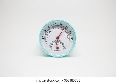 Hygrometer on white background