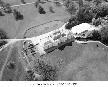 Hylands House, Chelmsford, Essex, England. Aerial View of Stately Home in English Countryside