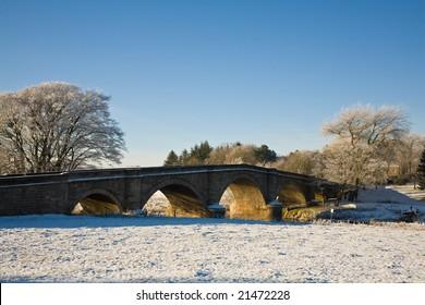 Hyndford Bridge, Lanark, Scotland in winter.
