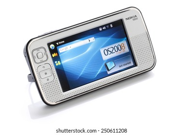 HYOGO, JAPAN - February 5, 2015: Nokia N800 Internet tablet is a wireless Linux-based Internet appliance from Nokia, originally announced in January 2007.