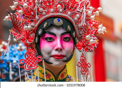 Hyogo,Japan - February 16, 2018: Chinese hero's cosplay in Kobe Chinatown.Nankinmachi is a compact Chinatown in central Kobe and a center of the Chinese community in the Kansai Region.