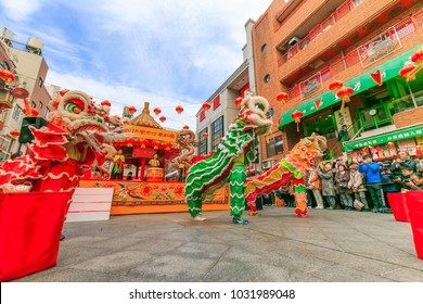 Hyogo,Japan - February 16, 2018: Kobe Chinatown.Nankinmachi is a compact Chinatown in central Kobe and a center of the Chinese community in the Kansai Region.