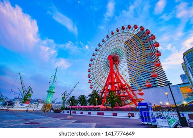 Hyogo,Japan - June 3, 2019: Harbor of Kobe in Japan.Kobe Harborland is a shopping and entertainment district the waterfront of Kobe's port area.
