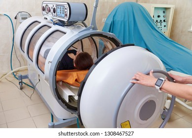 Hyperbaric oxygen chamber in a hospital.