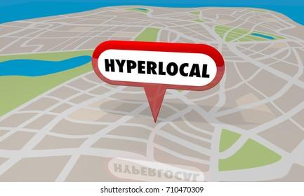 Hyperlocal Location Community Map Pin Word 3d Illustration
