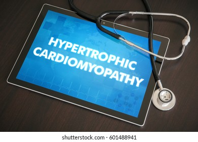 Hypertrophic cardiomyopathy (heart disorder) diagnosis medical concept on tablet screen with stethoscope.