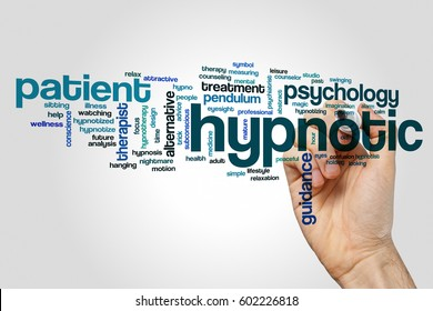Hypnotic word cloud concept on grey background