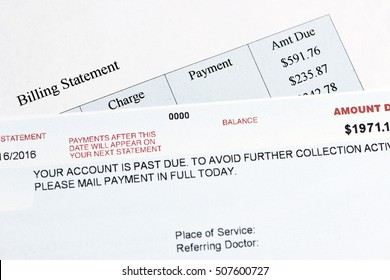 Hypothetical hospital bill that is past due.  Document created by photographer.