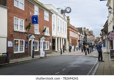 HYTHE, KENT, UK, 11TH DECEMBER 2015 - Town Hall and clock in the busy High Street, Hythe, Kent, UK
