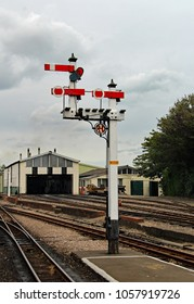 Hythe,East Sussex/UK 8/1/16 Romney, Hythe and Dymchurch miniature railway. Traditional semaphore signal