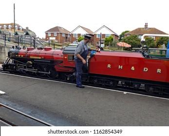 Hythe,Kent/UK 08-01-16 The Winston Churchill locomotive on the Romney Hythe and Dymchurch railway