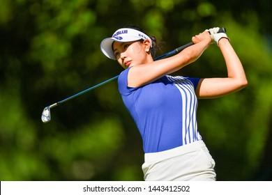 Hyun Ju Yoo of Korea in action during The Ladies European Thailand Championship 2019 Round1 at Phoenix Gold Golf&Country Club on June  20, 2019 in Pattaya Chonburi, Thailand.