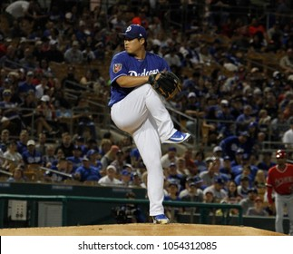 Hyun-Jin Ryu pitcher for the Los Angeles Dodgers at Camelback Ranch - Glendale in Phoenix, Arizona USA March 22,2018.