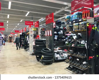Hyvinkaa, Finland -04-20-2019:  Interior of a store selling car and motorcycle spare parts and equipment, tools, boating and fishing equipment as well as domestic and leisure products.