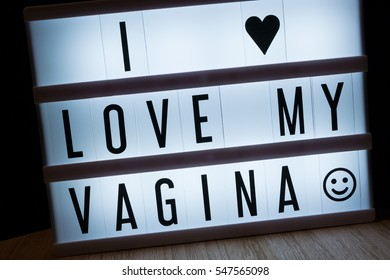 'I love my vagina' text in lightbox