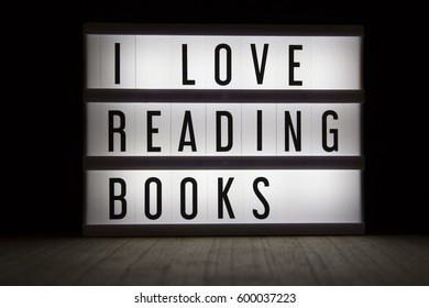 'I love reading books' text in lightbox