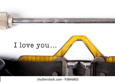 """""""I love you"""" message typed by vintage typewriter."""