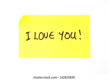'I Love You' written on a yellow sticky note