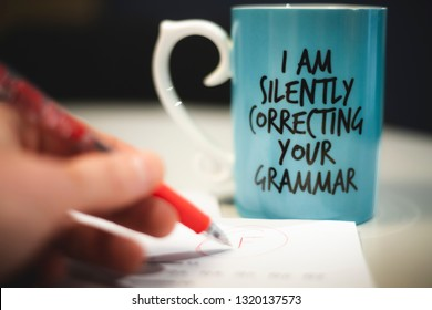 """I silently correcting your grammar"" coffee mug conceptual photography"