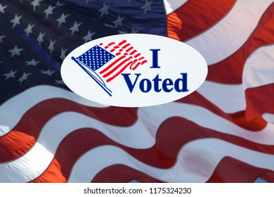 'I Voted' stickers on the US flag background.