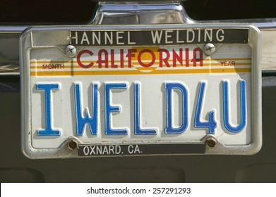 """I Weld For You"" custom vanity California license plate"
