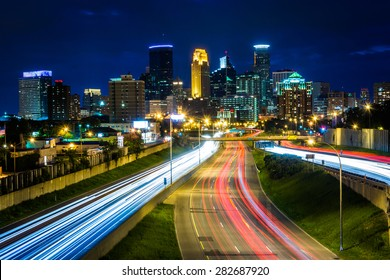 I-35 and the skyline at night, seen from the 24th Street Pedestrian Bridge, in Minneapolis, Minnesota.
