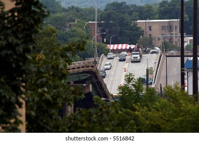 The I-35W bridge collapse as seen from the top of a parking ramp several days after the disaster.