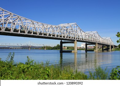 I-65 Roadway Bridge over the Ohio River connecting Louisville, Kentucky to Jeffersonville, Indiana