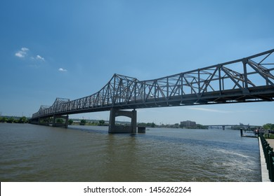 The I-74 Murray Baker Bridge over Illinois river at Peoria, Illinois
