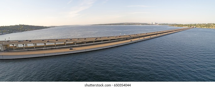 I90 Floating Bridge Traffic Seattle to Mercer Island Bellevue Over Lake Washington Panorama