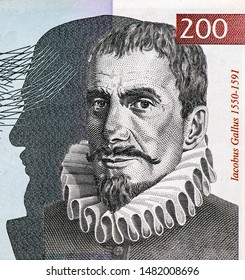 Iacobus Gallus;  portrait from Slovenian 200 Tolarjev 2004 banknotes, Slovenian money. Close Up UNC Uncirculated - Collection.