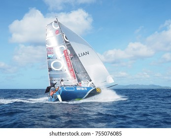 Ian Lapinski crosses the finish line after 12 days and 19 hours, at the end of the second stage of mini-transat part of Las Palmas, on November 1 to finish today,  14/11/2017 in the Marin Martinica