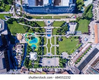 Iasi city center top down aerial view of the public gardens