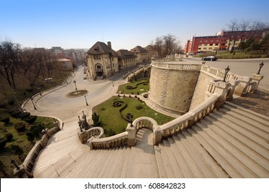 Iasi city with stairs downtown. wide view, Romania